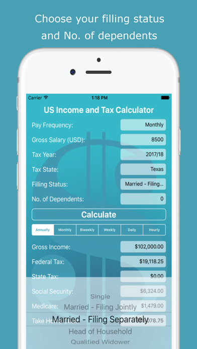US Income and Tax Calculator | APP | From Sergey Klimusha