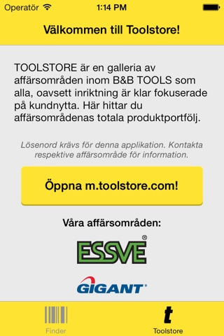 Screenshot of Toolstore Product Finder