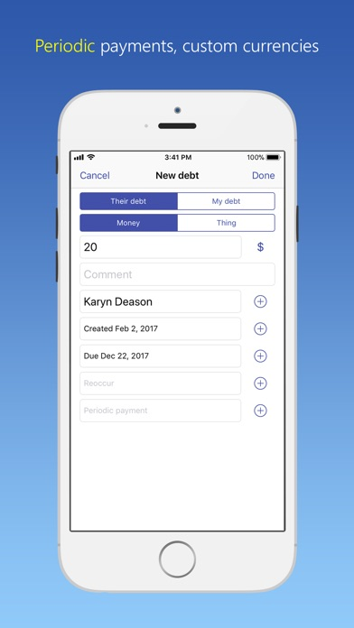 Screenshot for IOU - debt manager in United States App Store