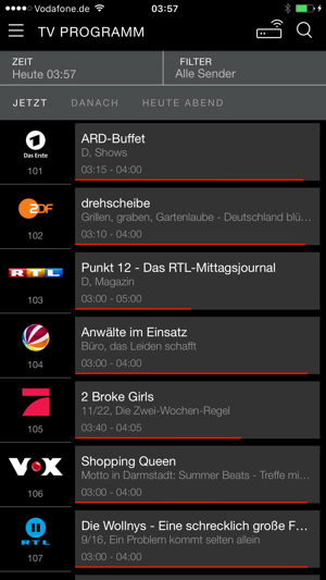 Vodafone Kabel TV App Screenshot