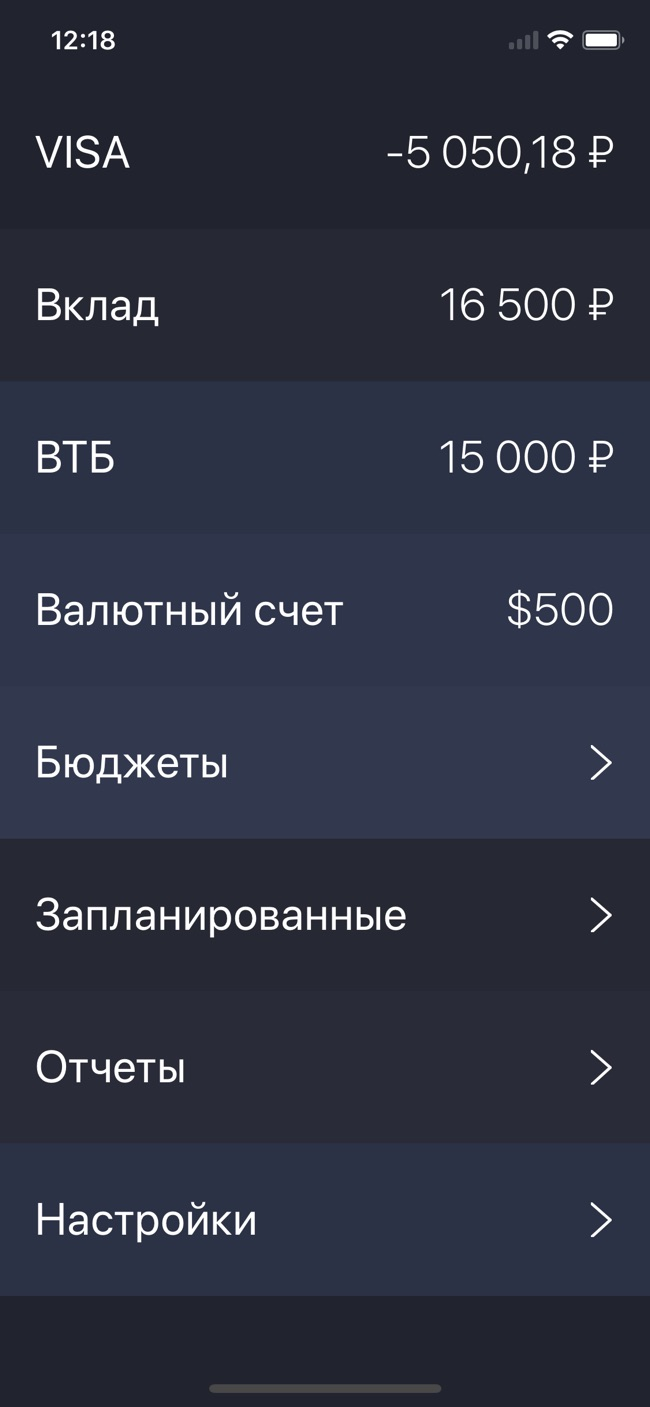 Debit & Credit Screenshot