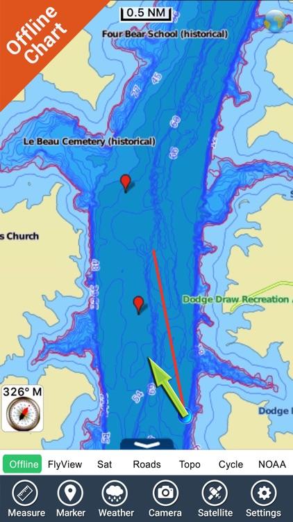 Lake Oahe - Dakota GPS fishing chart & map offline screenshot-4