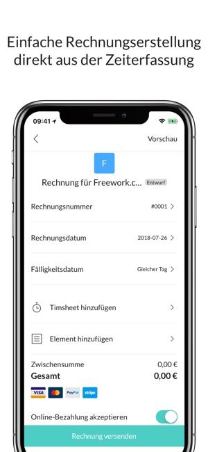 Freework: Timesheet & Rechnung Screenshot