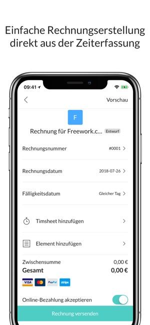 Freework: Timesheet & Rechnung Screenshot