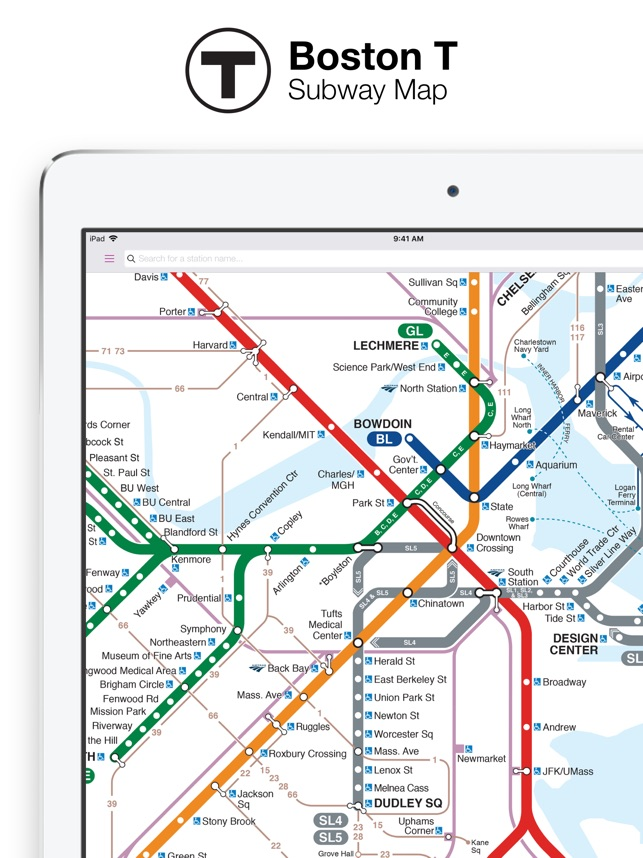 Interactive Boston Subway Map.Boston T Map Mbta Subway Map On The App Store