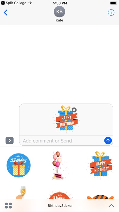 Screenshot of Happy Birthday Sticker App