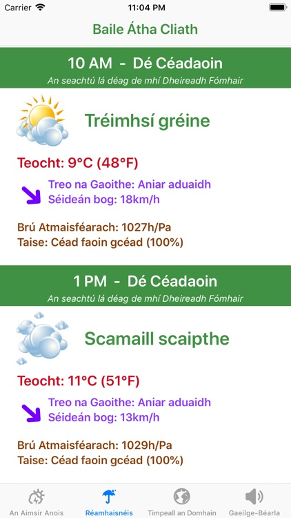 Aimsir - The Weather in Irish