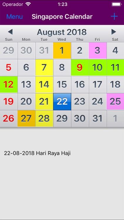 2018 Singapore Calendar AdFree
