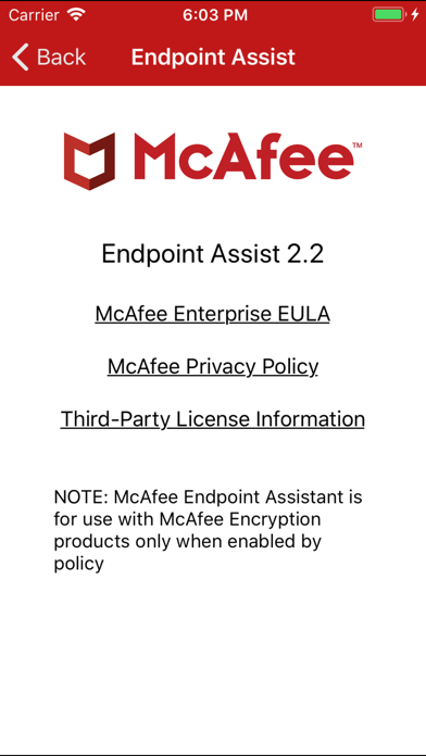 McAfee Endpoint Assistant Screenshot