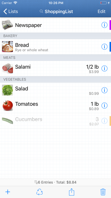 Screenshot for ShoppingList in Denmark App Store