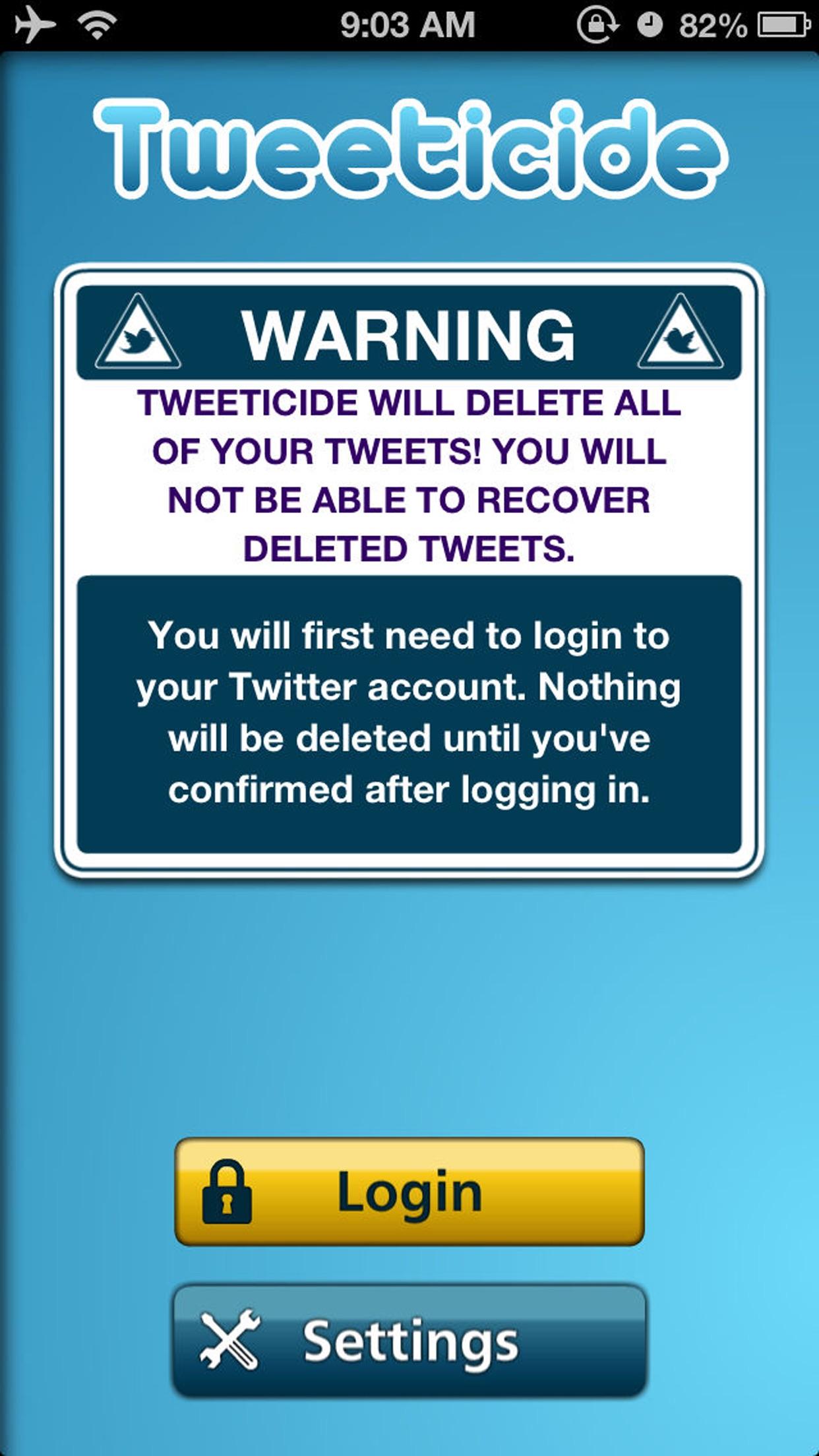 Tweeticide - Delete All Tweets Screenshot