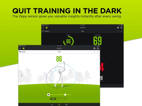 Zepp Golf Swing Analyzer, featuring Smart Coach with personalized training programs from Keegan Bradley and Michelle Wie. screenshot