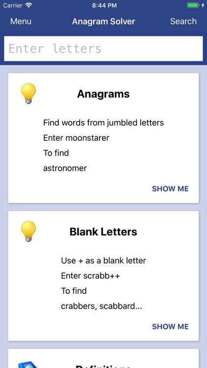 Anagram Solver - Crosswords