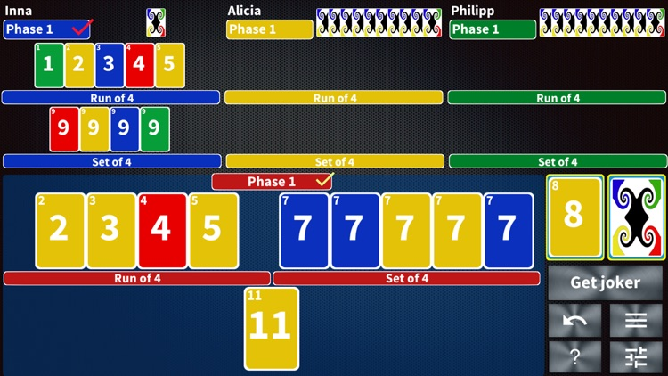 Phase Rummy Plus card game