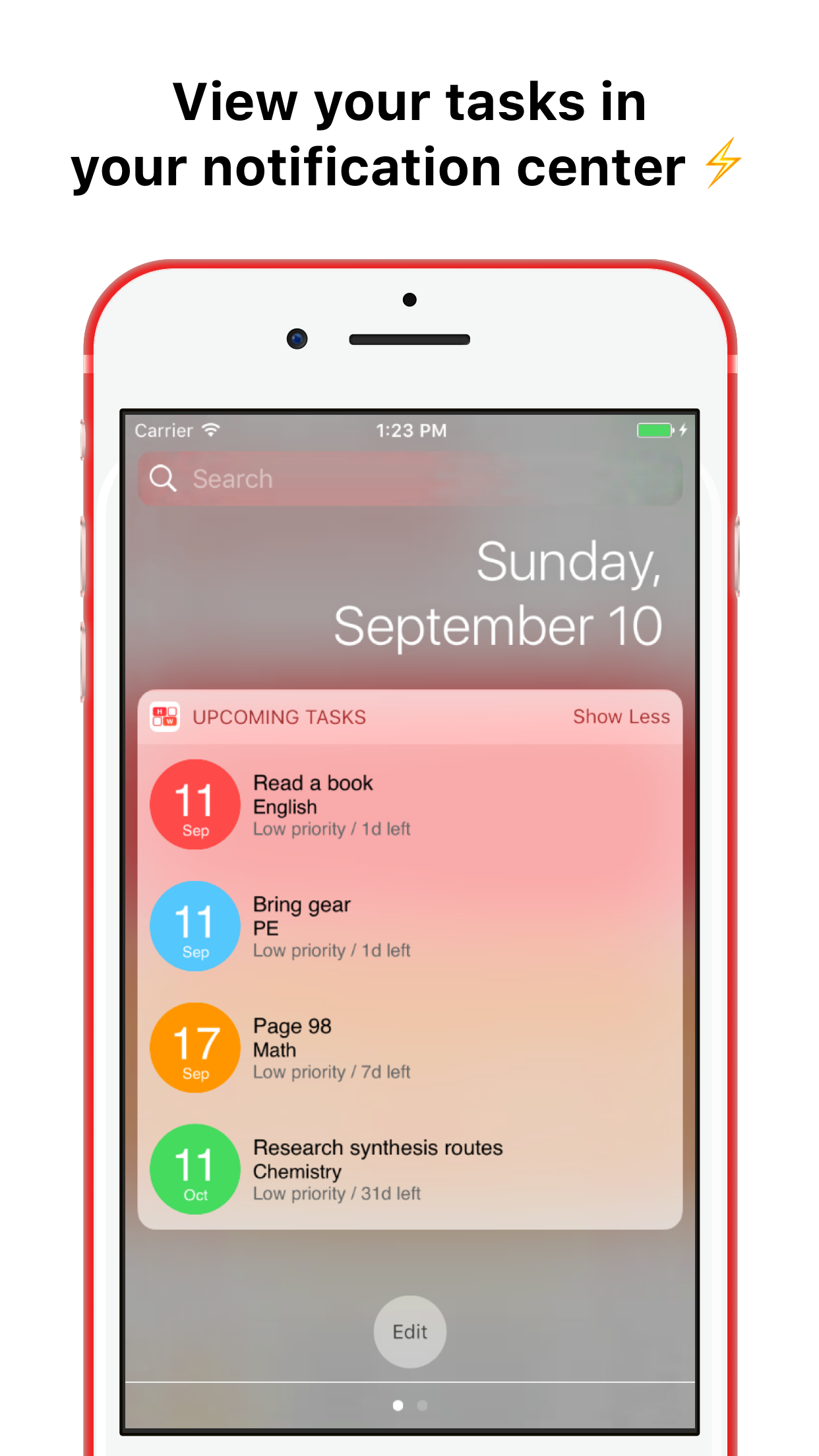 The Homework App Screenshot