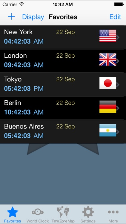 World Clock Gold–Time Zones
