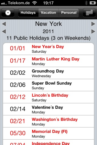 Screenshot of Holiday and Vacation Calendar