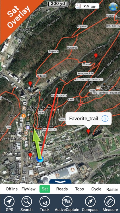 Hot springs National Park gps and outdoor map