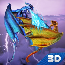 Flying Fire Dragon Fighting By Victoria Bessarab