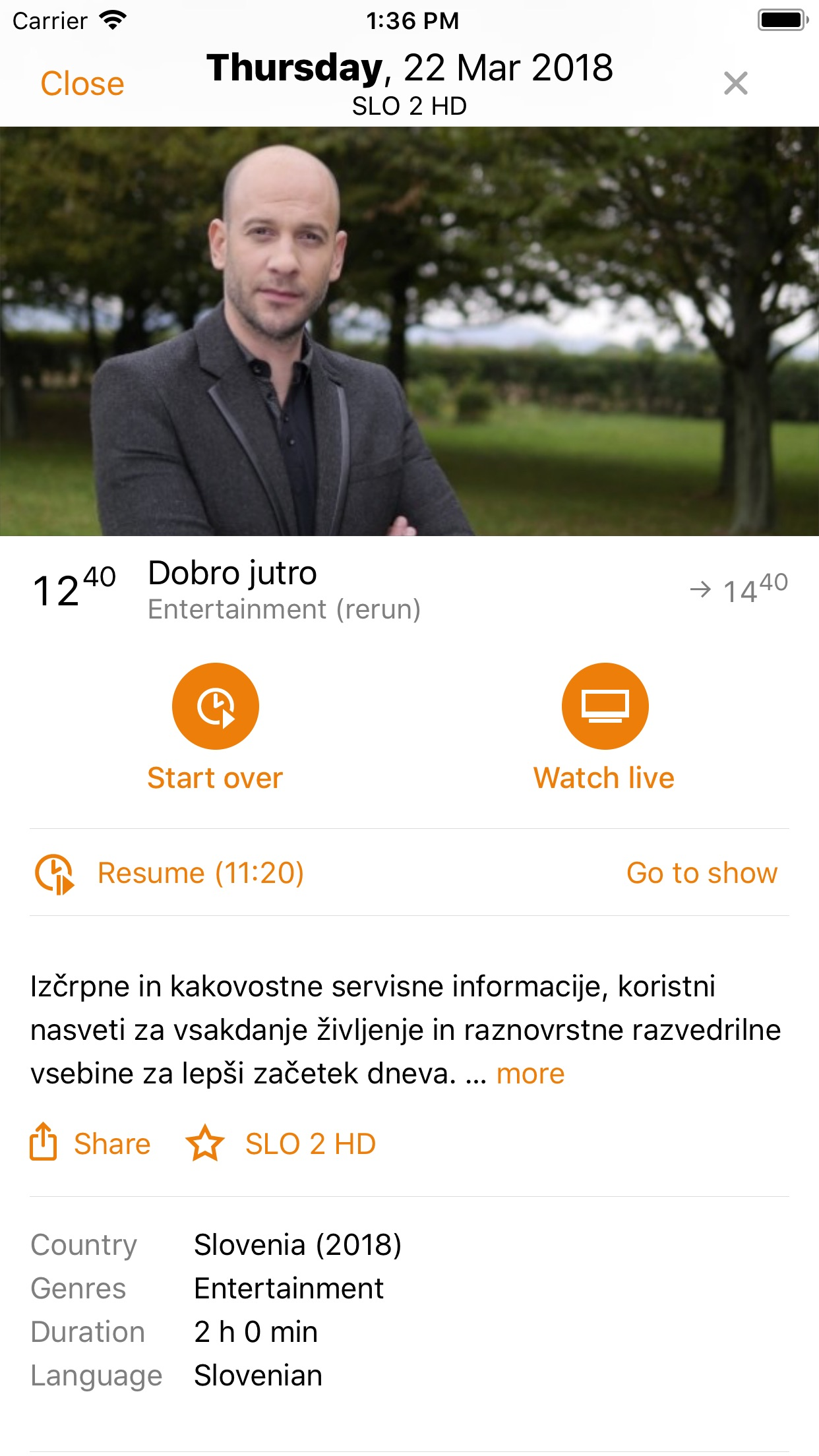 T-2 tv2go Screenshot