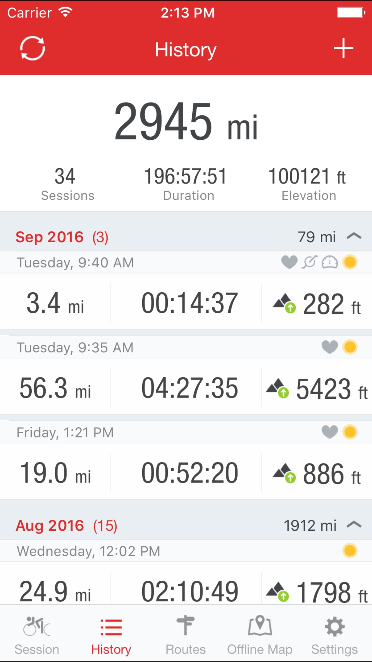 Runtastic Road Bike GPS Screenshot