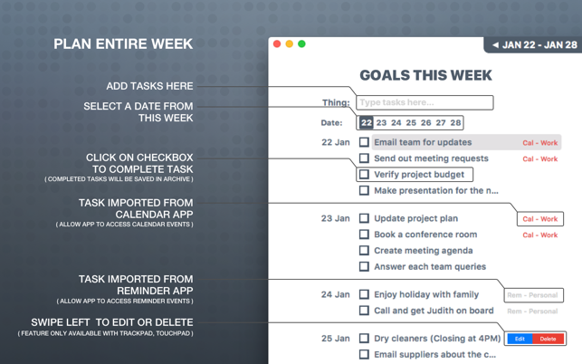 Week Track on the MacAppStore