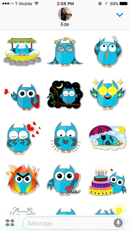 Blue Owl Fukuro Stickers screenshot-1