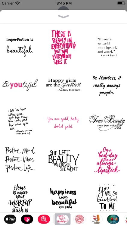 Beauty Love Quote Sticker Pack