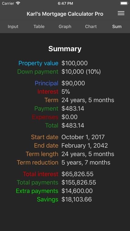 Karl's Mortgage Calculator Pro screenshot-4