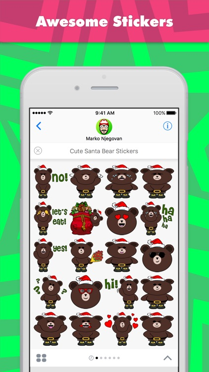 Cute Santa Bear Stickers stickers by CandyASS