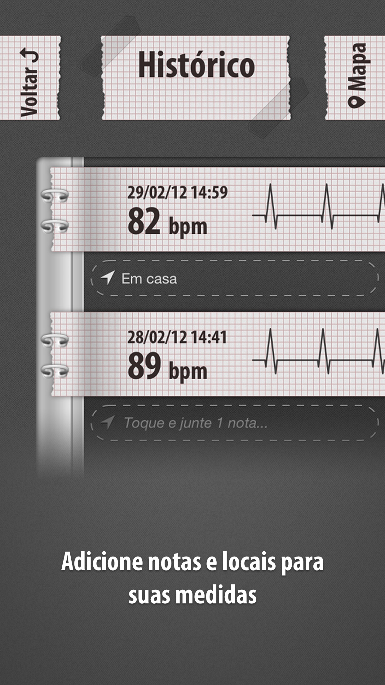 Screenshot do app Cardiógrafo Clássico