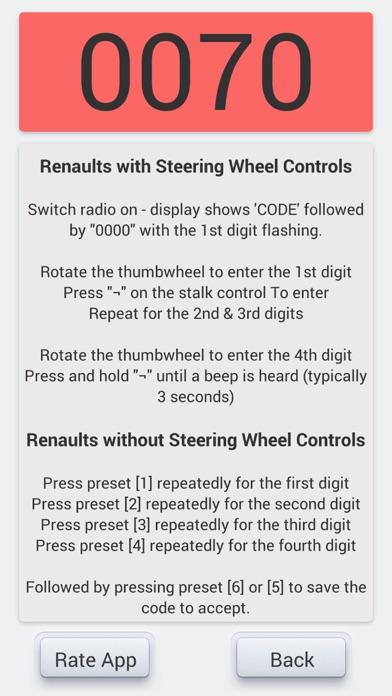 Renault Radio Unlocker Screenshots