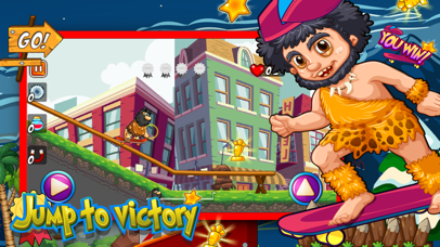 Caveman Skater Go - Jump and collect coin to win.
