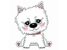 New stickers pack with lovely Westie dog (West Highland White Terrier)