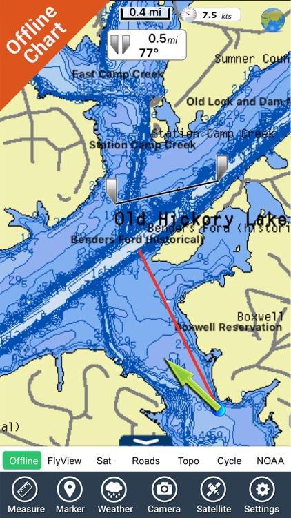 Old Hickory Lake Tennessee HD - GPS fishing charts