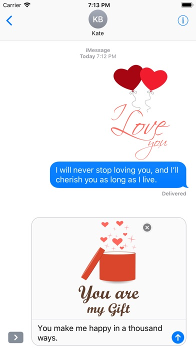 Love Message - Flat Stickers screenshot 4