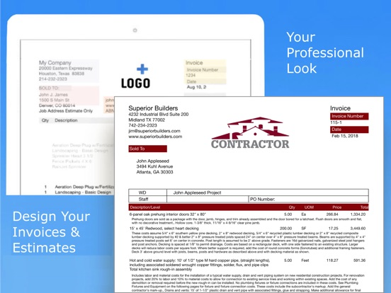 Contractor Estimate & Invoice Screenshots