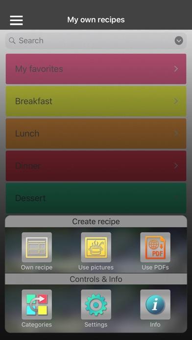Own recipes Screenshots