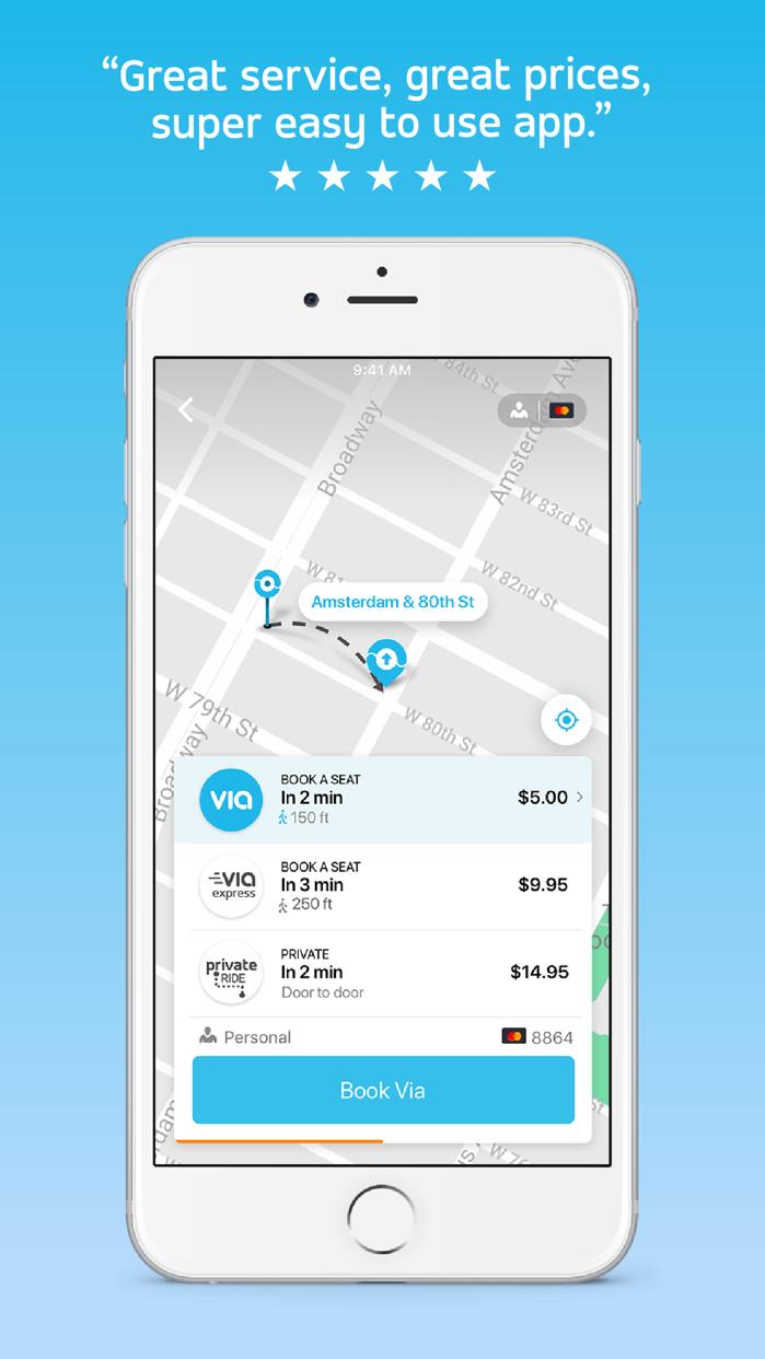 Via: Low-Cost Ride-Sharing Screenshot
