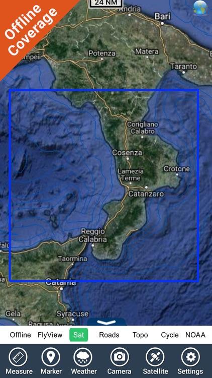Marine : Calabria GPS map Nautical fishing charts screenshot-4