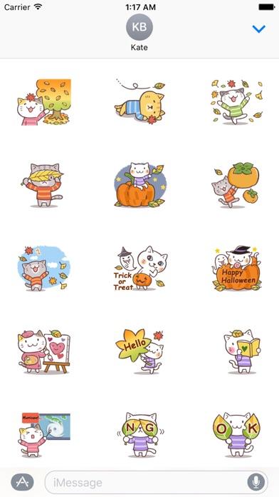 Cute Cat In Autumn Sticker screenshot 1