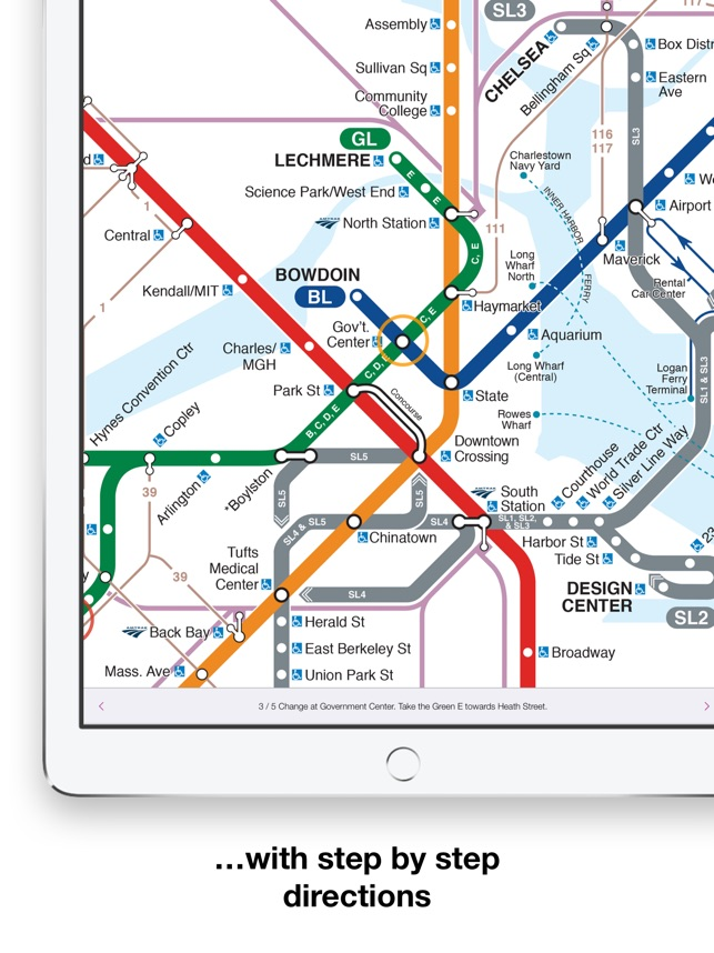E Subway Map.Boston T Map Mbta Subway Map On The App Store