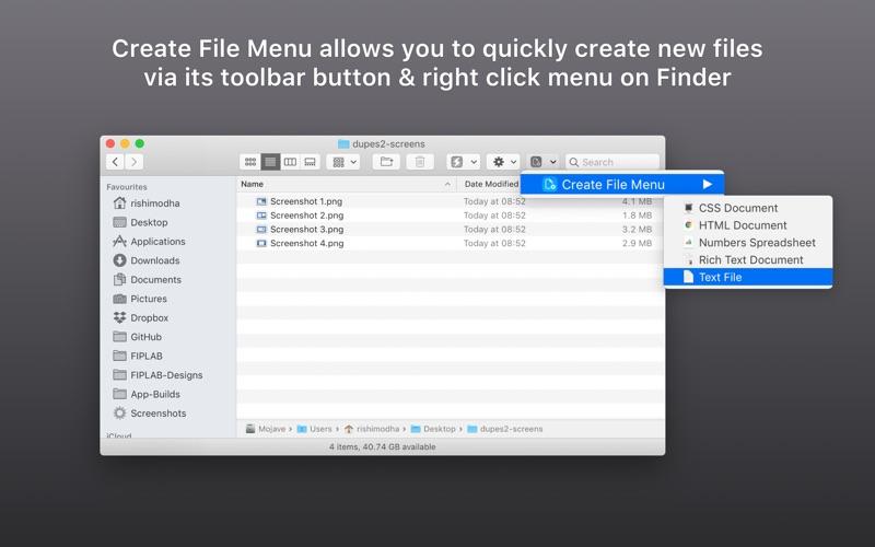 Create File Menu Screenshot