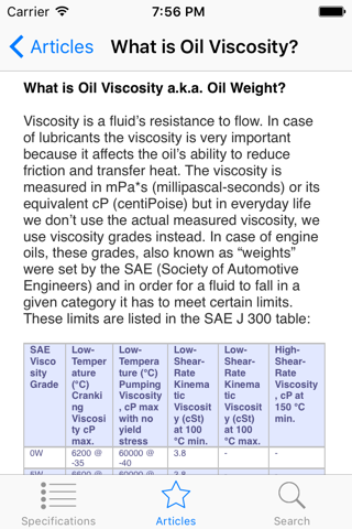 Oil Specifications - náhled