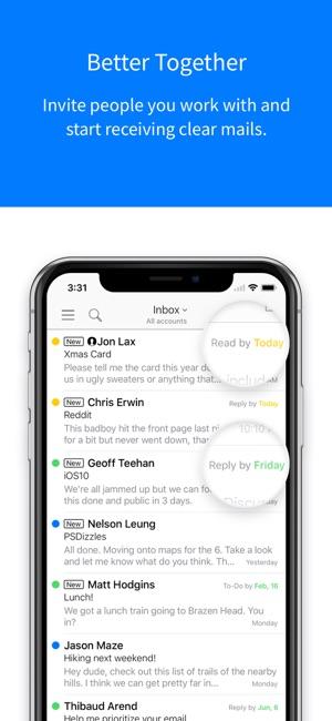 Timyo email on the App Store