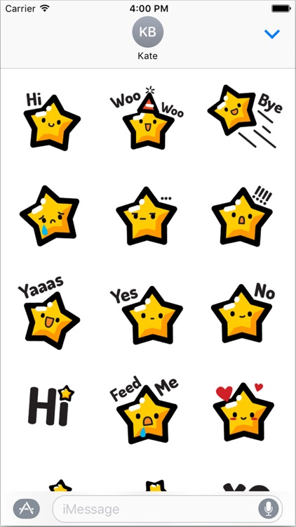 Animated Happy Star Stickers for iMessage