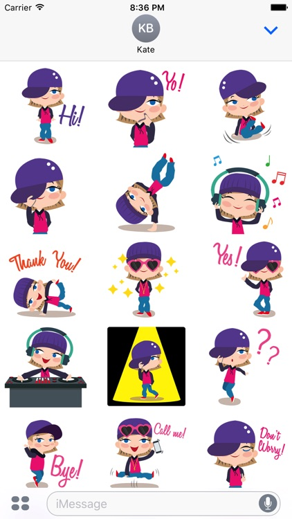 Animated Hip Hop GIRL Stickers for iMessage