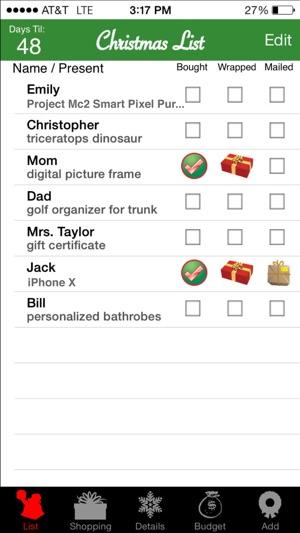 Christmas List Screenshot