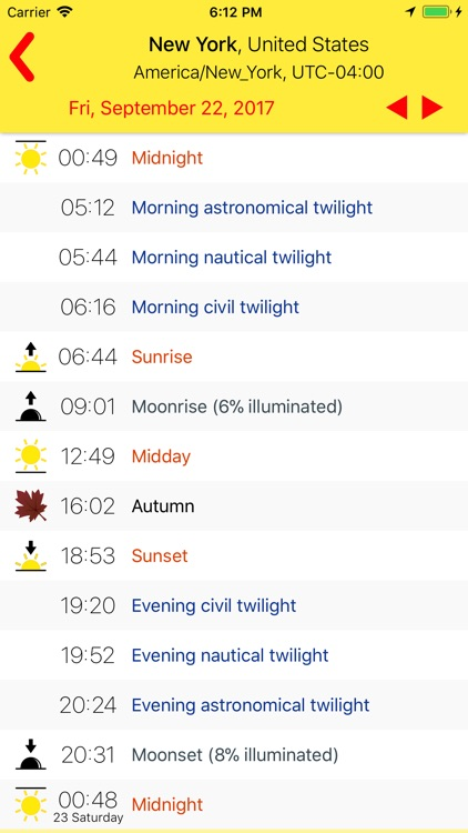 Sunrise/Sunset times
