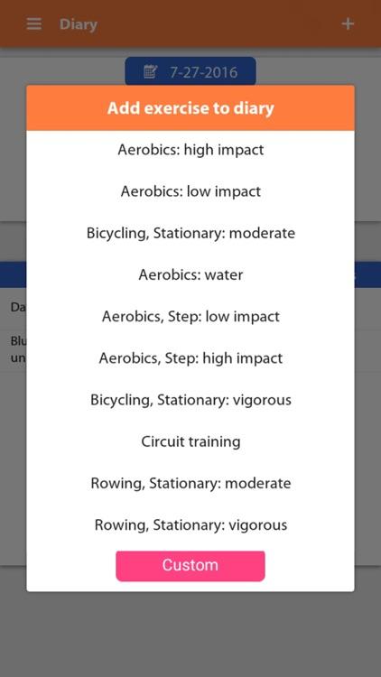 Weight gain, Diet tracker